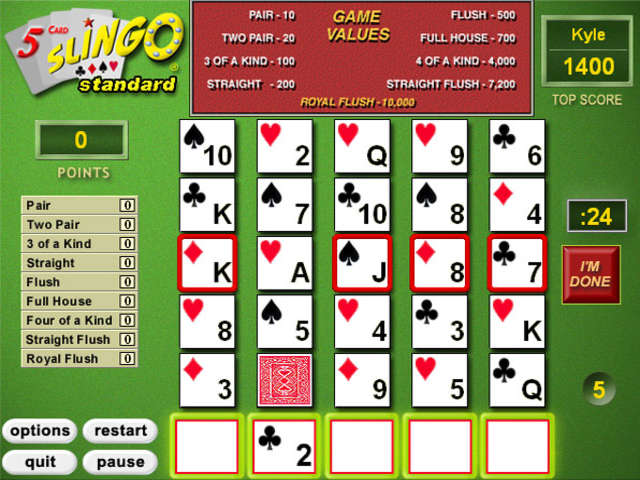 Play 5 Card Slingo